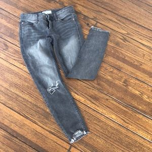 Denim - Free people gray destroyed jeans